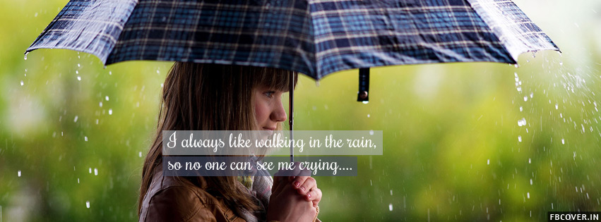walking crying girl with umbrella facebook covers