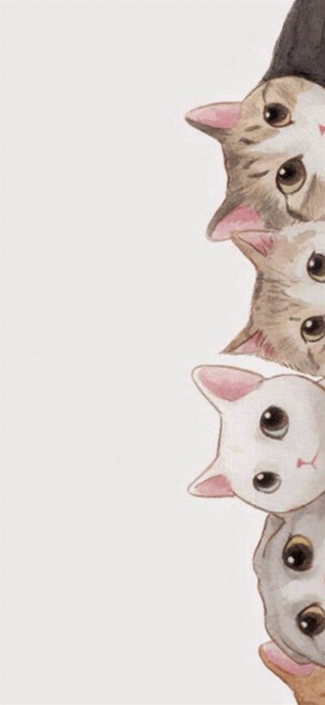 Cute Cats Vertical Aligned Illustration cat iphone wallpaper